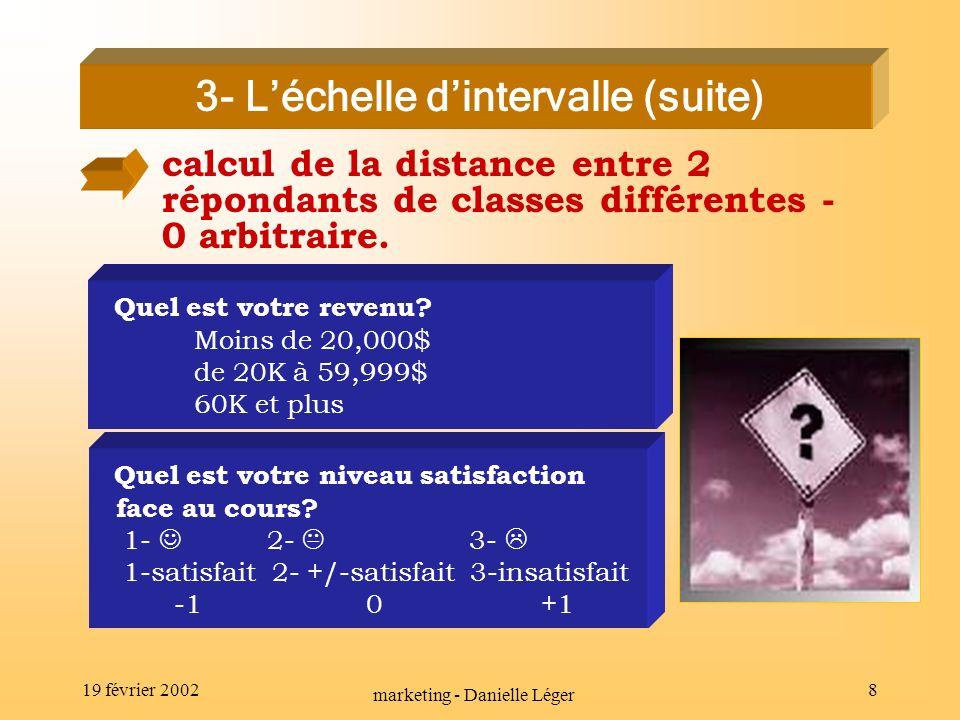 19 février 2002 marketing - Danielle Léger 7 utilisation de nombres, symboles correspondance entre répondants et classes mutuellement exclusives ordre des classes calcul de la distance entre 2 répondants de classes différentes / 0 arbitraire.