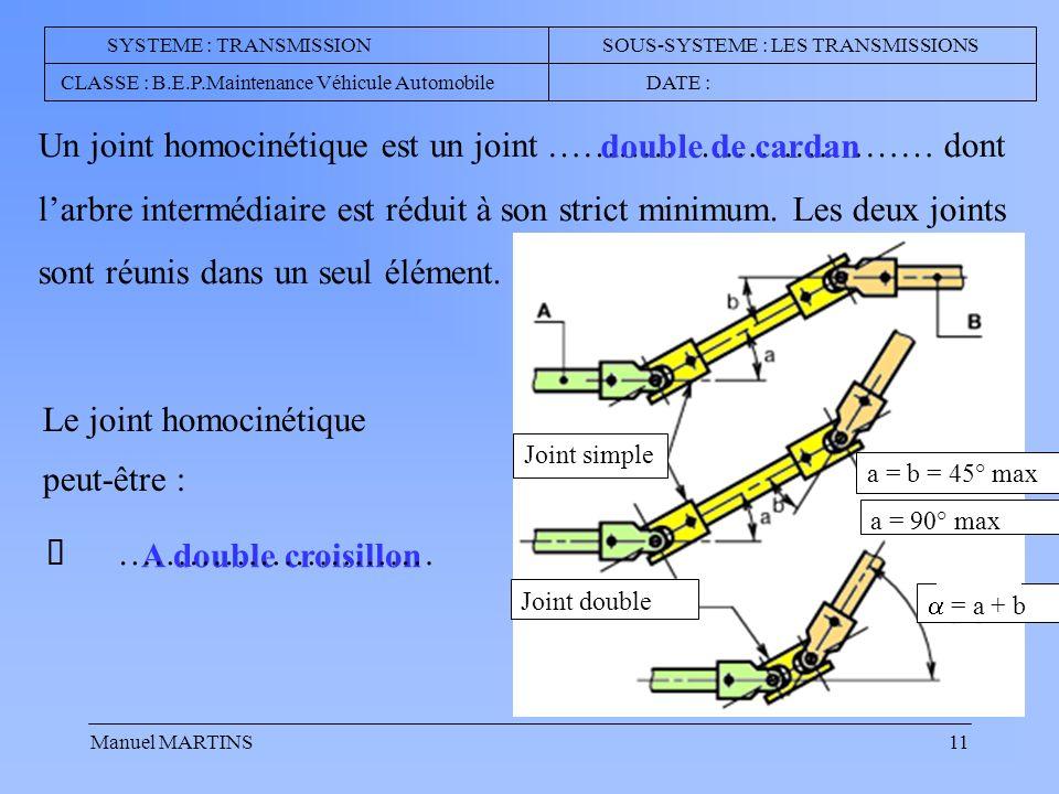 Manuel MARTINS11 Un joint homocinétique est un joint …………………………… dont larbre intermédiaire est réduit à son strict minimum.