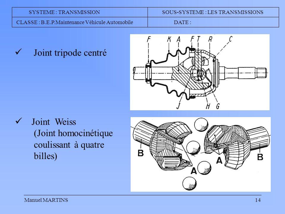 Manuel MARTINS14 SYSTEME : TRANSMISSION SOUS-SYSTEME : LES TRANSMISSIONS CLASSE : B.E.P.Maintenance Véhicule Automobile DATE : Joint tripode centré Joint Weiss (Joint homocinétique coulissant à quatre billes)