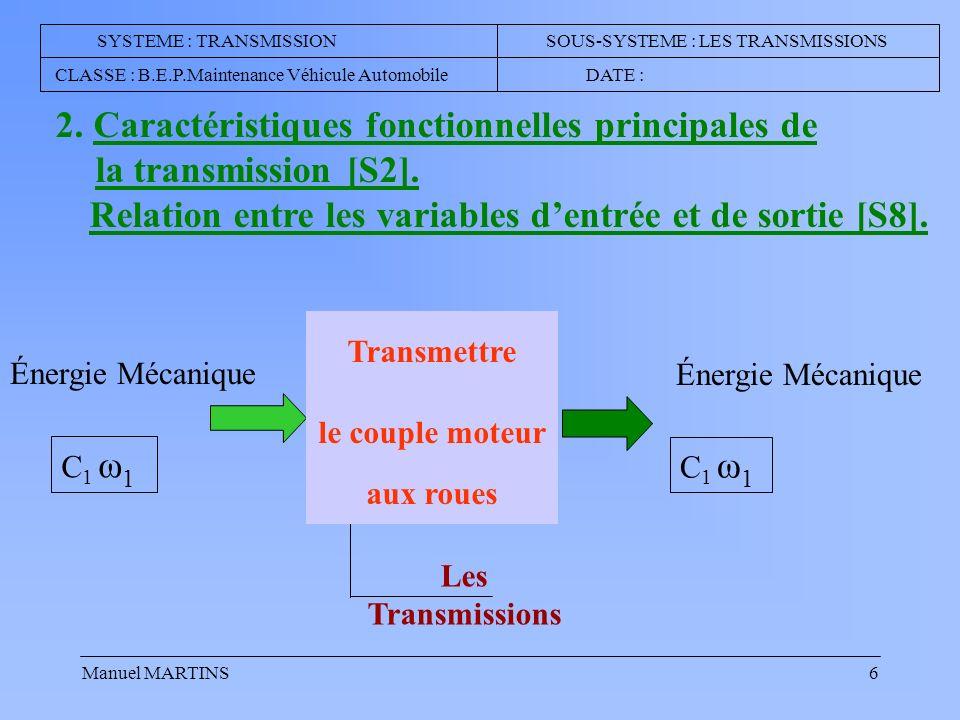 Manuel MARTINS6 2.Caractéristiques fonctionnelles principales de la transmission [S2].