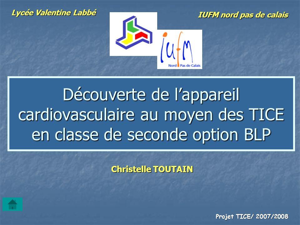 Projet TICE/ 2007/2008 Découverte de lappareil cardiovasculaire au moyen des TICE en classe de seconde option BLP Christelle TOUTAIN Lycée Valentine L