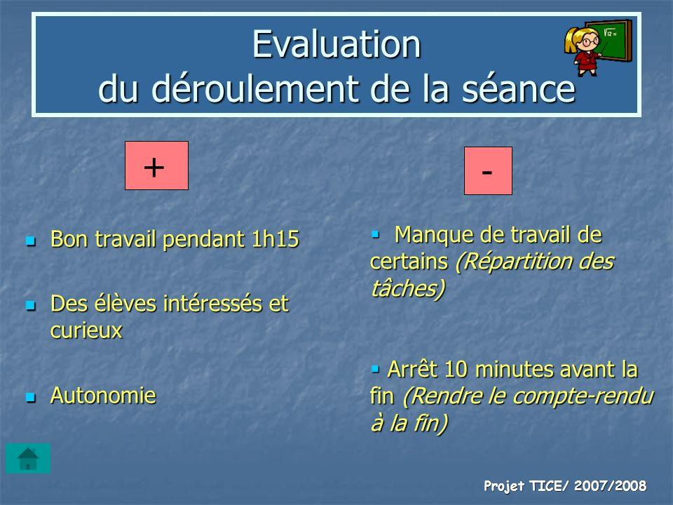 Projet TICE/ 2007/2008 Evaluation du déroulement de la séance Bon travail pendant 1h15 Bon travail pendant 1h15 Des élèves intéressés et curieux Des é