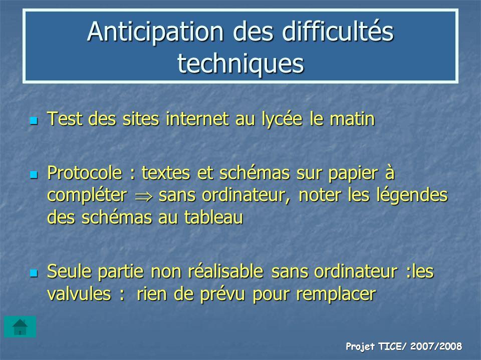 Projet TICE/ 2007/2008 Anticipation des difficultés techniques Test des sites internet au lycée le matin Test des sites internet au lycée le matin Pro