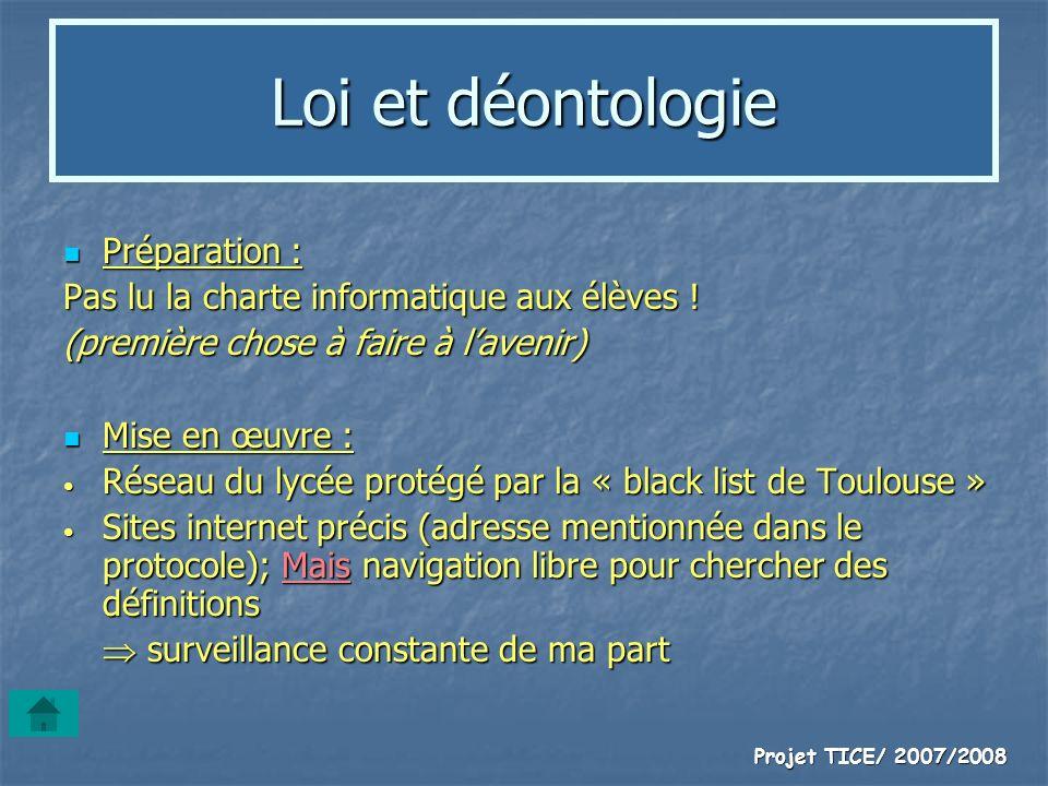 Projet TICE/ 2007/2008 Loi et déontologie Préparation : Préparation : Pas lu la charte informatique aux élèves ! (première chose à faire à lavenir) Mi