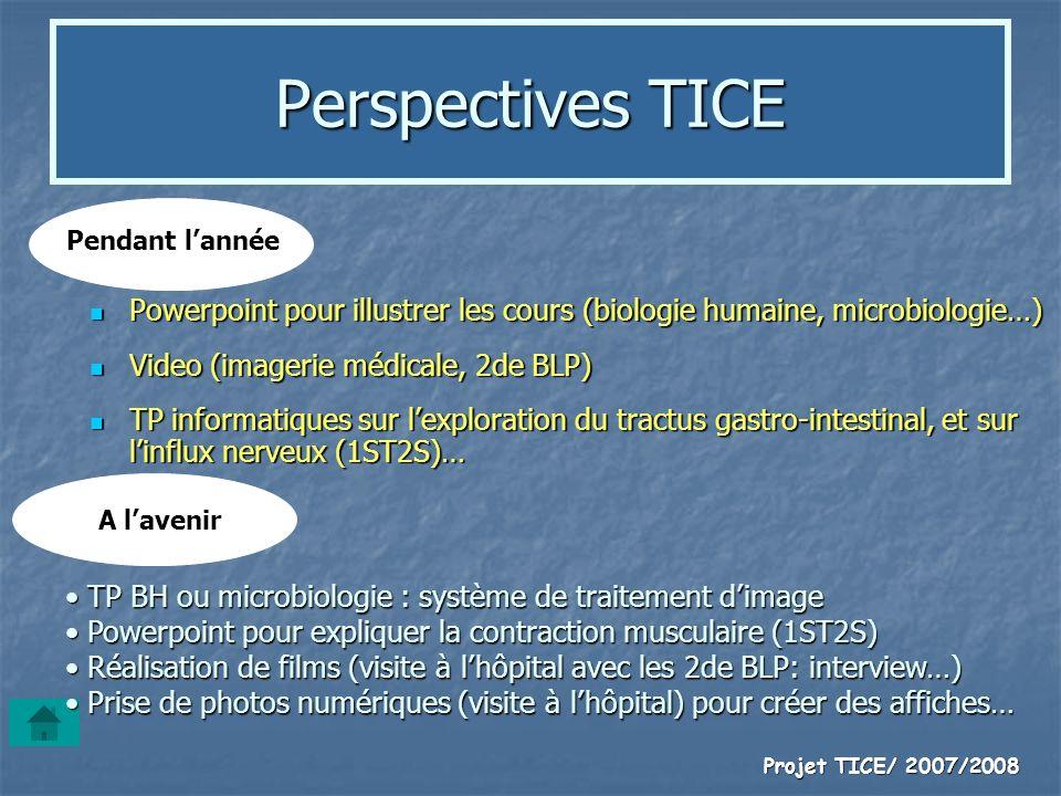 Projet TICE/ 2007/2008 Perspectives TICE Powerpoint pour illustrer les cours (biologie humaine, microbiologie…) Powerpoint pour illustrer les cours (b