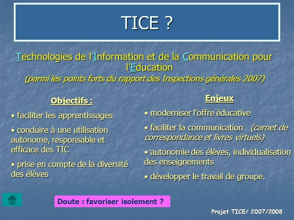 Projet TICE/ 2007/2008 TICE ? Technologies de lInformation et de la Communication pour lEducation (parmi les points forts du rapport des Inspections g