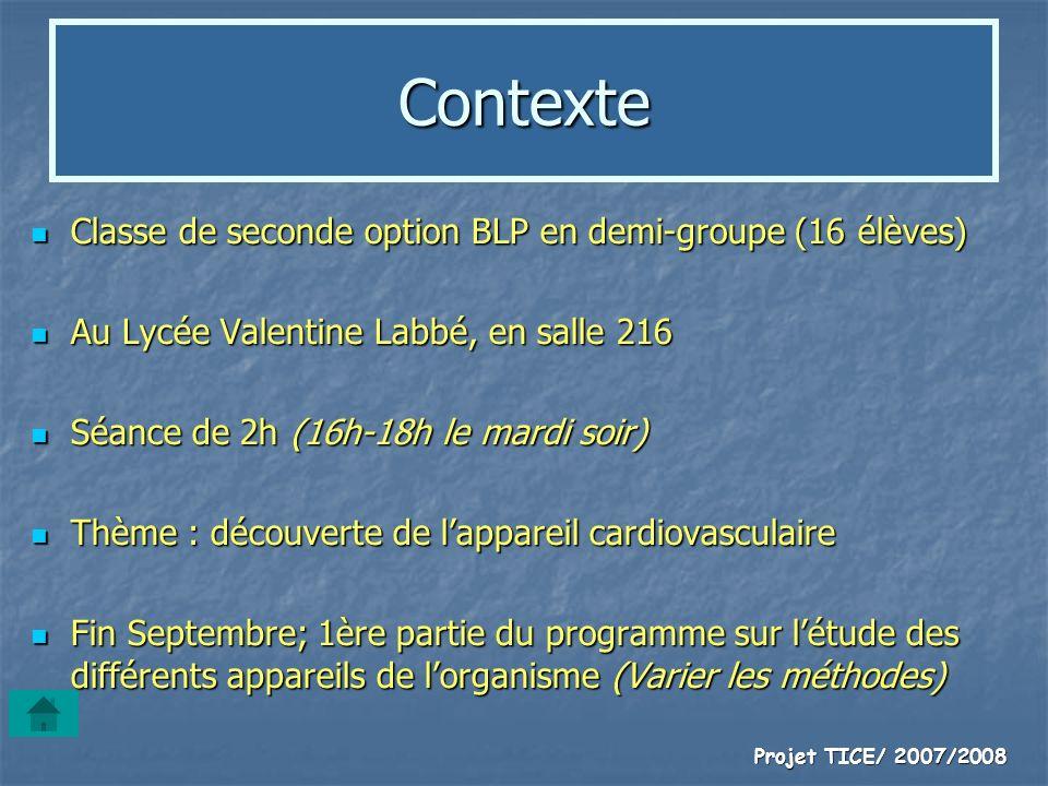 Projet TICE/ 2007/2008 Contexte Classe de seconde option BLP en demi-groupe (16 élèves) Classe de seconde option BLP en demi-groupe (16 élèves) Au Lyc