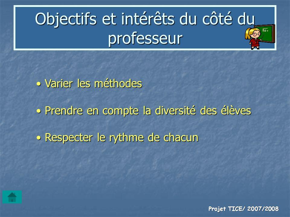 Projet TICE/ 2007/2008 Objectifs et intérêts du côté du professeur Varier les méthodes Varier les méthodes Prendre en compte la diversité des élèves P