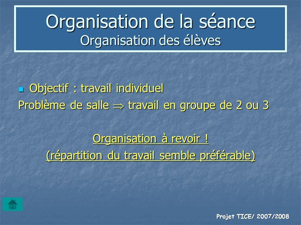 Projet TICE/ 2007/2008 Organisation de la séance Organisation des élèves Objectif : travail individuel Objectif : travail individuel Problème de salle