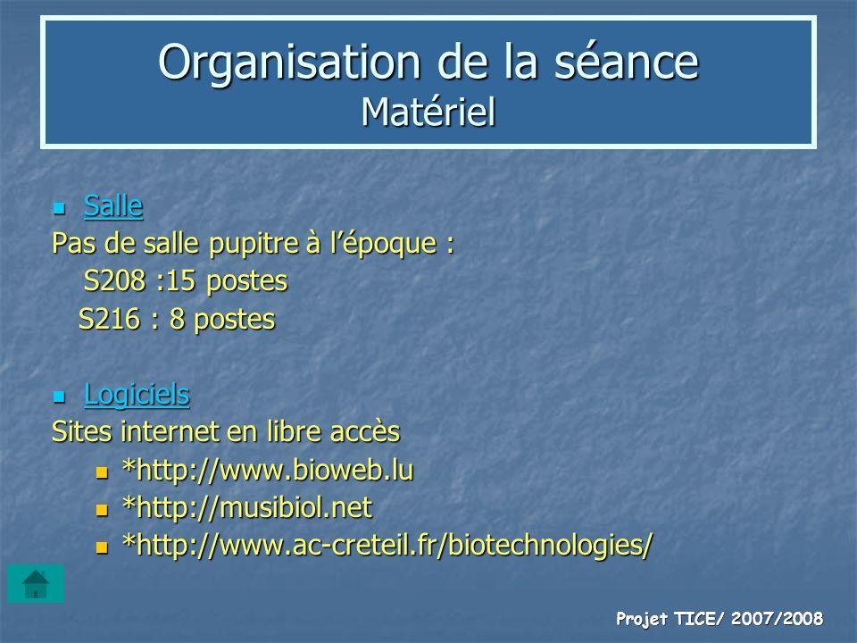 Projet TICE/ 2007/2008 Organisation de la séance Matériel Salle Salle Pas de salle pupitre à lépoque : S208 :15 postes S216 : 8 postes S216 : 8 postes