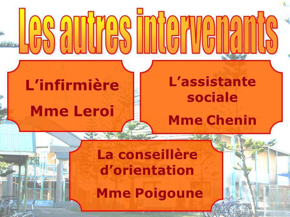 Linfirmière Mme Leroi Lassistante sociale Mme Chenin La conseillère dorientation Mme Poigoune