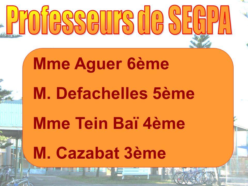 Mme Aguer 6ème M. Defachelles 5ème Mme Tein Baï 4ème M. Cazabat 3ème