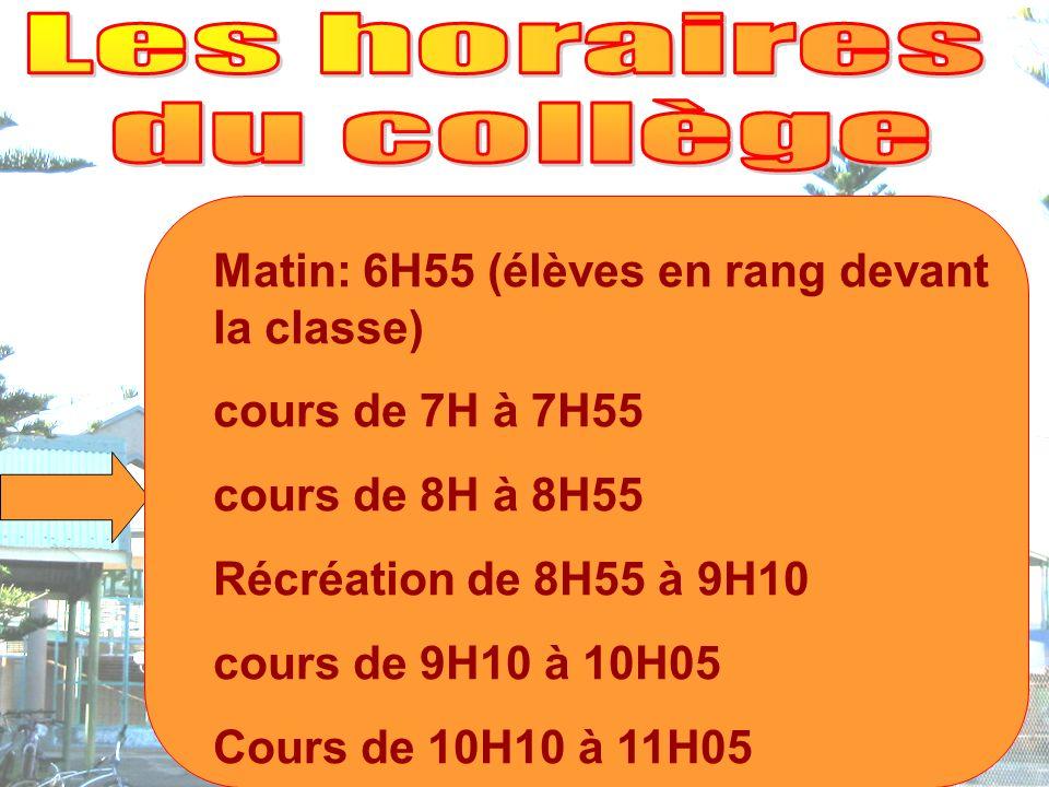 Matin: 6H55 (élèves en rang devant la classe) cours de 7H à 7H55 cours de 8H à 8H55 Récréation de 8H55 à 9H10 cours de 9H10 à 10H05 Cours de 10H10 à 11H05