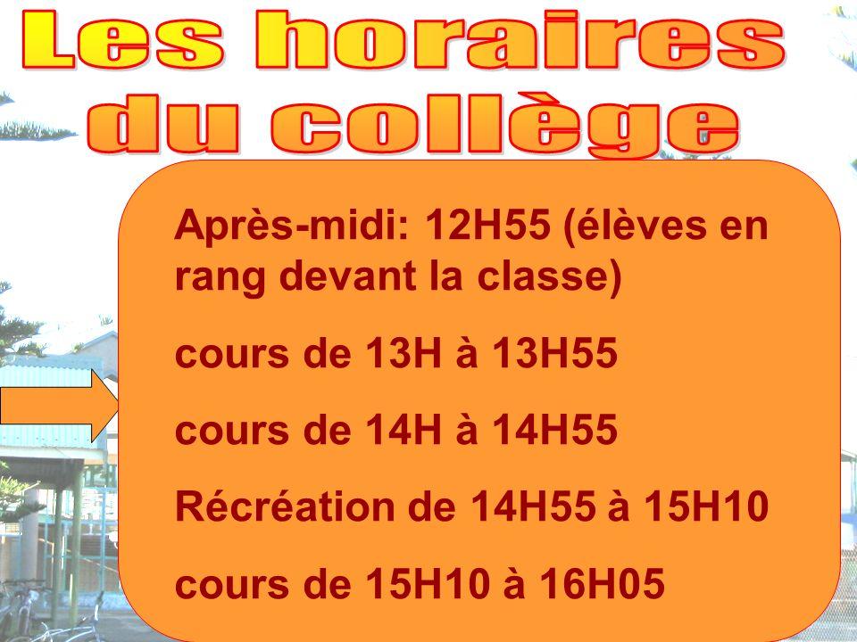 Après-midi: 12H55 (élèves en rang devant la classe) cours de 13H à 13H55 cours de 14H à 14H55 Récréation de 14H55 à 15H10 cours de 15H10 à 16H05