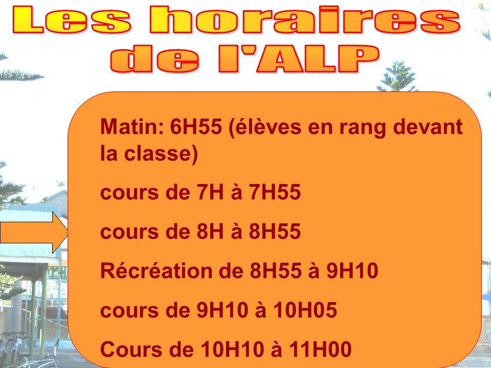 Matin: 6H55 (élèves en rang devant la classe) cours de 7H à 7H55 cours de 8H à 8H55 Récréation de 8H55 à 9H10 cours de 9H10 à 10H05 Cours de 10H10 à 11H00