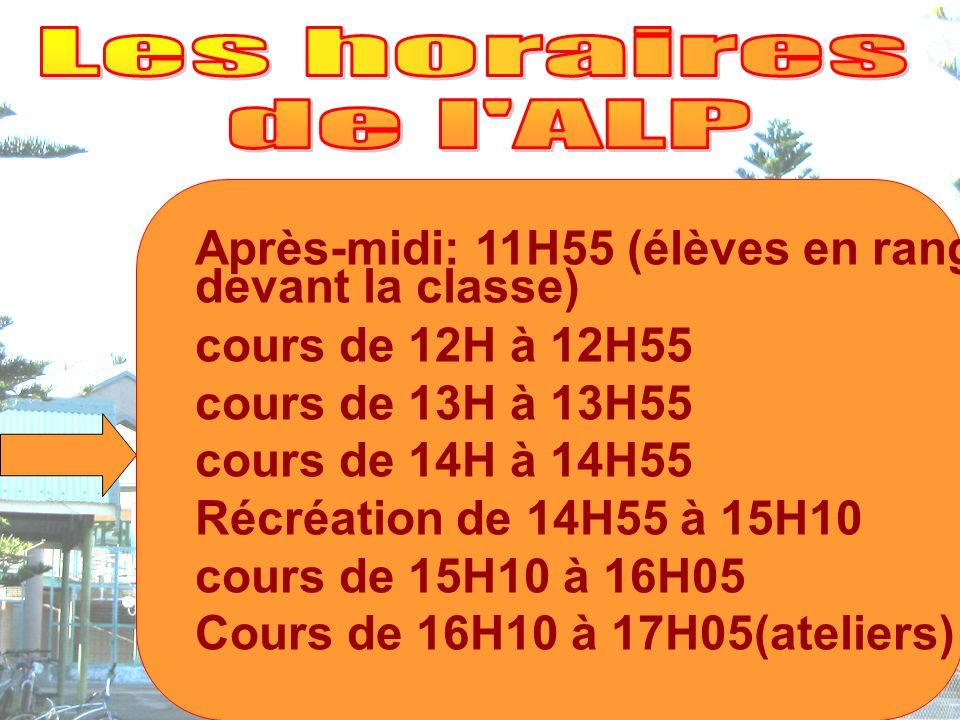 Après-midi: 11H55 (élèves en rang devant la classe) cours de 12H à 12H55 cours de 13H à 13H55 cours de 14H à 14H55 Récréation de 14H55 à 15H10 cours de 15H10 à 16H05 Cours de 16H10 à 17H05(ateliers)