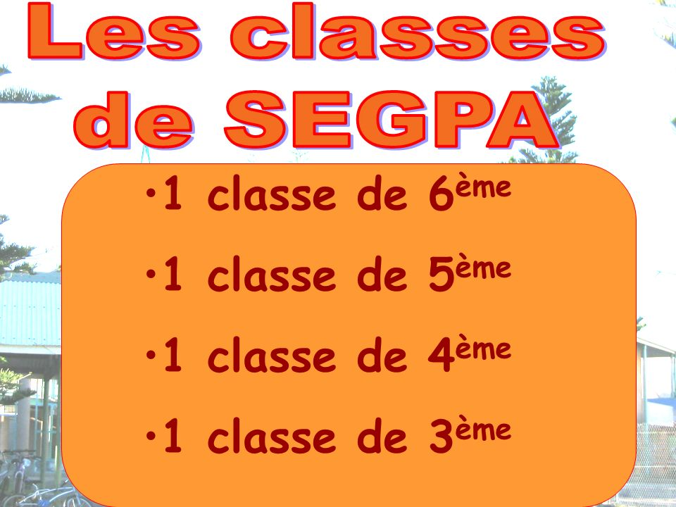 1 classe de 6 ème 1 classe de 5 ème 1 classe de 4 ème 1 classe de 3 ème