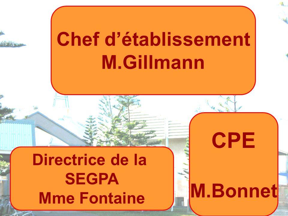 Chef détablissement M.Gillmann Directrice de la SEGPA Mme Fontaine CPE M.Bonnet