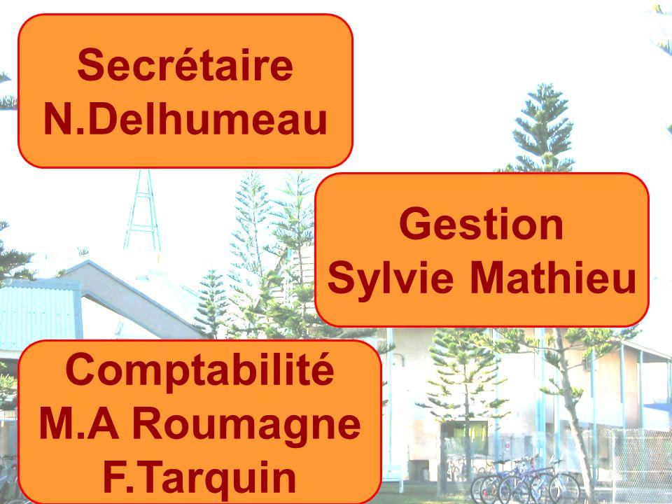 Secrétaire N.Delhumeau Gestion Sylvie Mathieu Comptabilité M.A Roumagne F.Tarquin