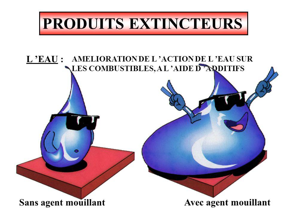 PRODUITS EXTINCTEURS AGIT PAR : - Refroidissement - Etouffement efficace sur feux de classe A et B L EAU :PRINCIPAL AGENT EXTINCTEUR