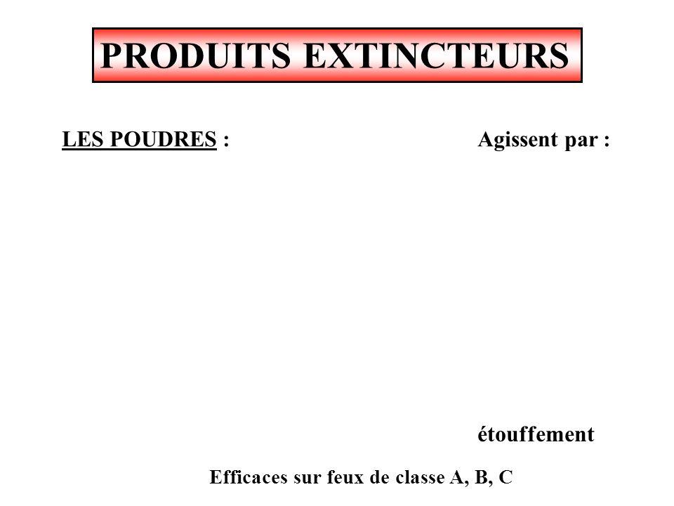 PRODUITS EXTINCTEURS Agit par : Efficaces sur feux de classe B ANHYDRIDE CARBONIQUE CO2 - NEIGE CARBONIQUE - étouffement - souffle - refroidissement
