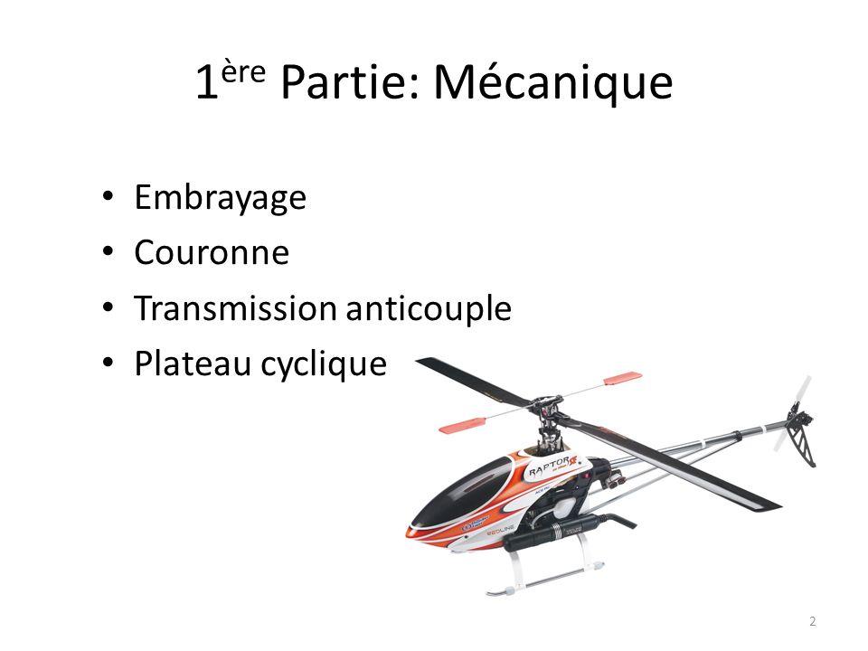 Embrayage 3 Son rôle: permettre le démarrage du moteur sans entraîner le rotor sécurité Il est centrifuge: le rotor est entraîné lors de laccélération du moteur le rotor nest plus entraîné lorsque le moteur est au ralenti