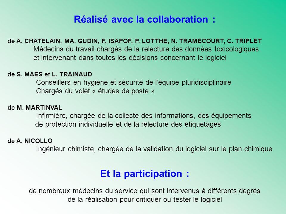 Réalisé avec la collaboration : de A. CHATELAIN, MA. GUDIN, F. ISAPOF, P. LOTTHE, N. TRAMECOURT, C. TRIPLET Médecins du travail chargés de la relectur