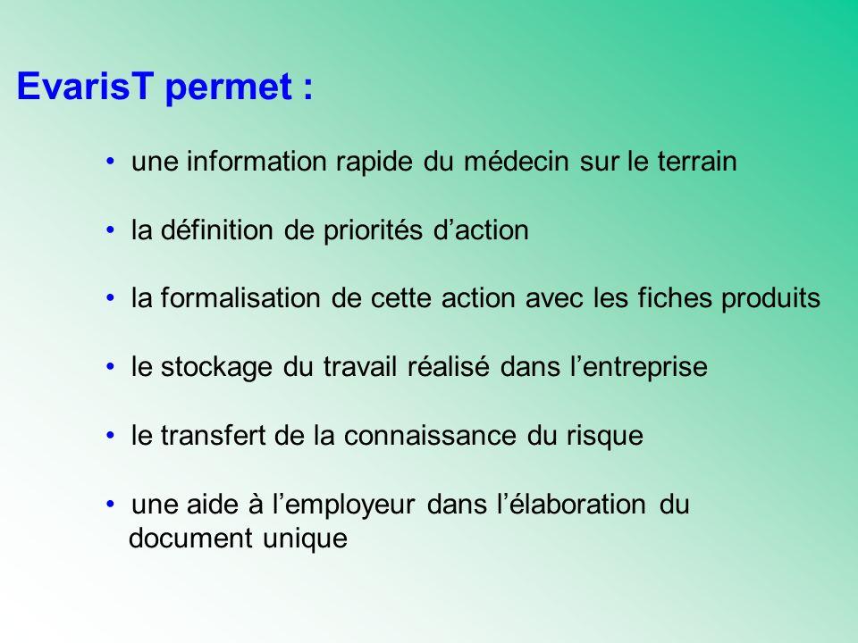 EvarisT permet : une information rapide du médecin sur le terrain la définition de priorités daction la formalisation de cette action avec les fiches produits le stockage du travail réalisé dans lentreprise le transfert de la connaissance du risque une aide à lemployeur dans lélaboration du document unique