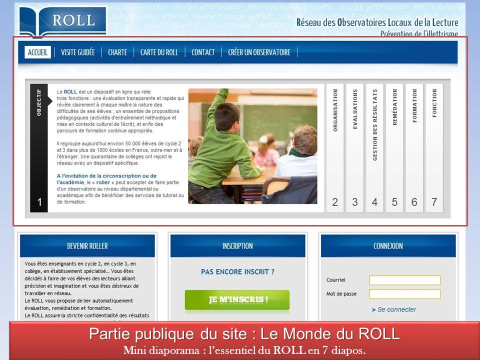 Partie publique du site : Le Monde du ROLL Mini diaporama : lessentiel du ROLL en 7 diapos.