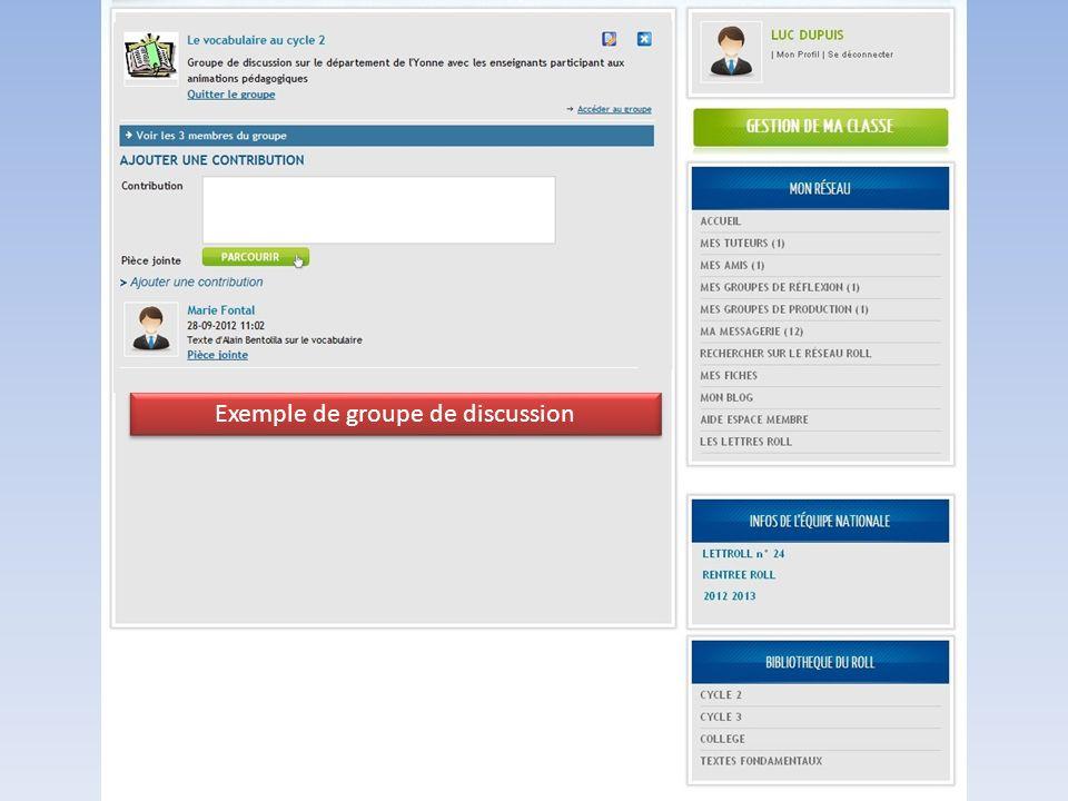Exemple de groupe de discussion