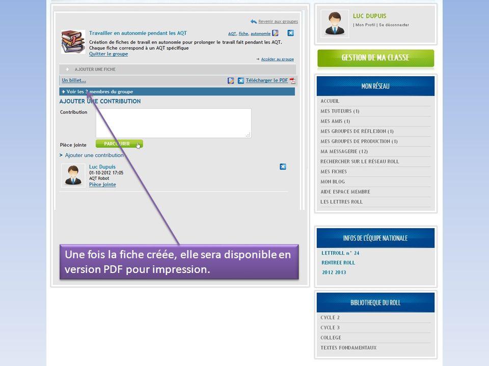Une fois la fiche créée, elle sera disponible en version PDF pour impression.