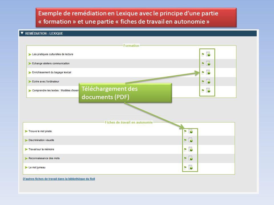 Exemple de remédiation en Lexique avec le principe dune partie « formation » et une partie « fiches de travail en autonomie » Téléchargement des documents (PDF)