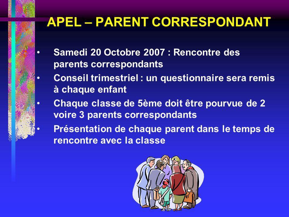 APEL – PARENT CORRESPONDANT Samedi 20 Octobre 2007 : Rencontre des parents correspondants Conseil trimestriel : un questionnaire sera remis à chaque e