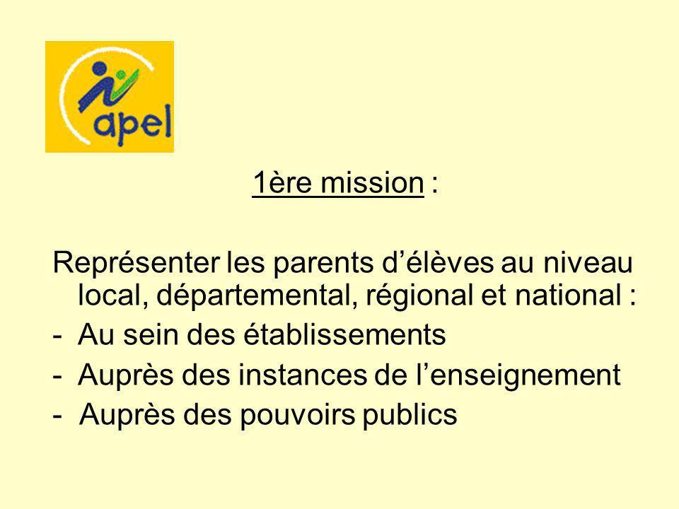 1ère mission : Représenter les parents délèves au niveau local, départemental, régional et national : -Au sein des établissements -Auprès des instances de lenseignement - Auprès des pouvoirs publics