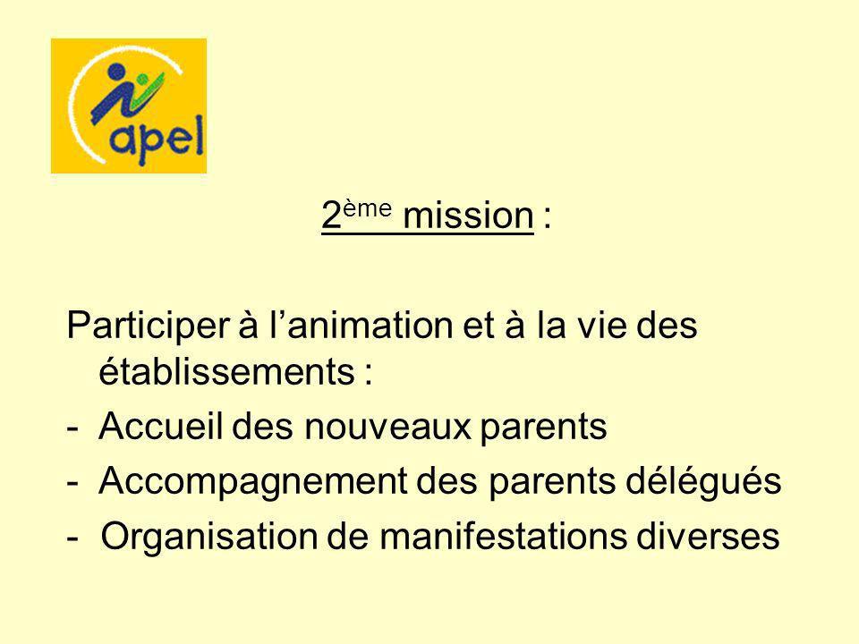 2 ème mission : Participer à lanimation et à la vie des établissements : -Accueil des nouveaux parents -Accompagnement des parents délégués - Organisa