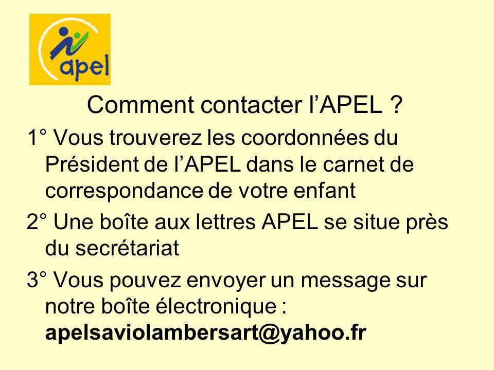 Comment contacter lAPEL ? 1° Vous trouverez les coordonnées du Président de lAPEL dans le carnet de correspondance de votre enfant 2° Une boîte aux le