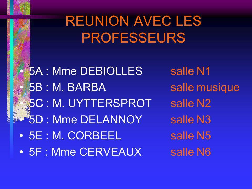 REUNION AVEC LES PROFESSEURS 5A : Mme DEBIOLLESsalle N1 5B : M. BARBAsalle musique 5C : M. UYTTERSPROTsalle N2 5D : Mme DELANNOYsalle N3 5E : M. CORBE