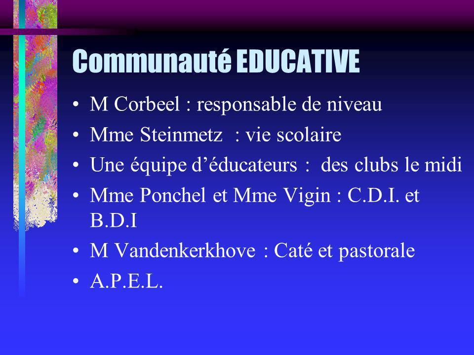 Communauté EDUCATIVE M Corbeel : responsable de niveau Mme Steinmetz : vie scolaire Une équipe déducateurs : des clubs le midi Mme Ponchel et Mme Vigin : C.D.I.