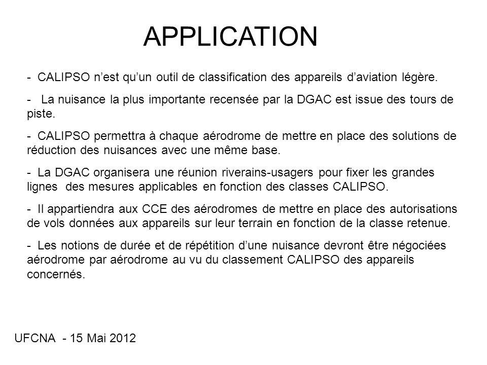 UFCNA - 15 Mai 2012 APPLICATION (suite) - Un appareil donné qui séquipera dun dispositif de silencieux déchappement ou dune hélice plus silencieuse changera de classe.