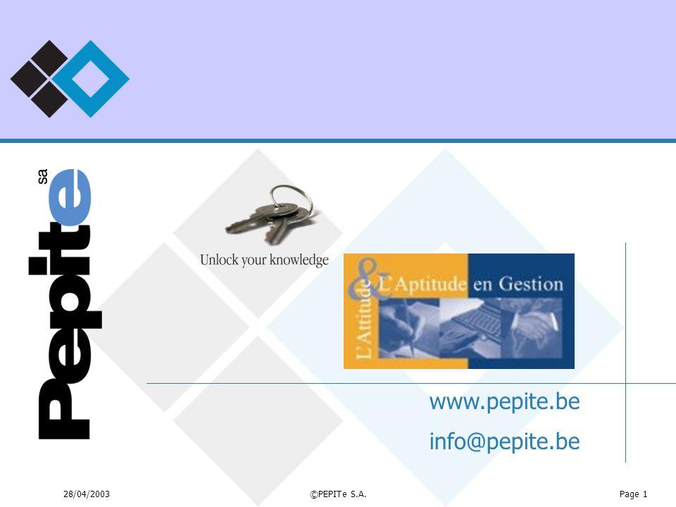 28/04/2003©PEPITe S.A.Page 1 www.pepite.be info@pepite.be
