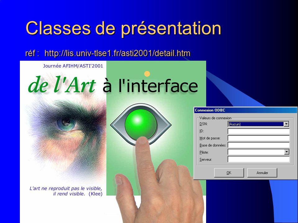Classes de présentation réf : http://lis.univ-tlse1.fr/asti2001/detail.htm