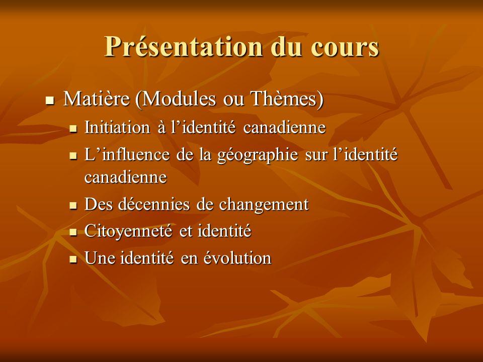 Présentation du cours Matière (Modules ou Thèmes) Matière (Modules ou Thèmes) Initiation à lidentité canadienne Initiation à lidentité canadienne Linf