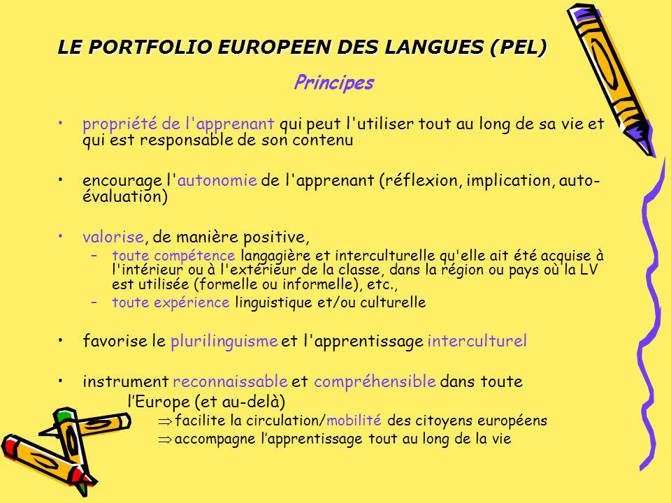 LE PORTFOLIO EUROPEEN DES LANGUES (PEL) Fonctions de documentation et de présentation pédagogique et méthodologique –Pour les élèvesPour les élèves –Pour les enseignantsPour les enseignants