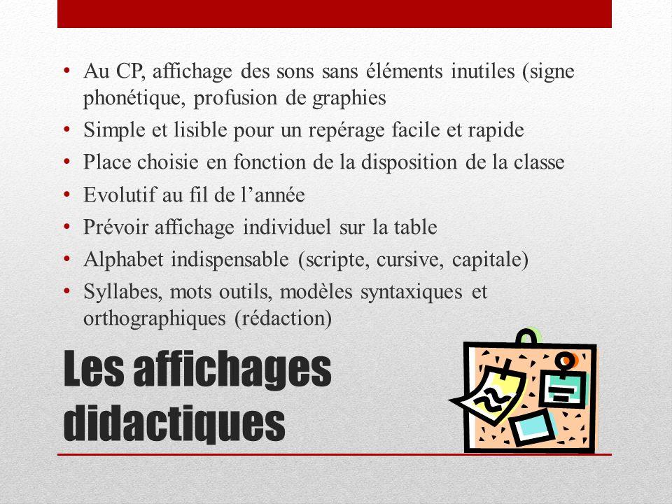 Les affichages didactiques Au CP, affichage des sons sans éléments inutiles (signe phonétique, profusion de graphies Simple et lisible pour un repérag