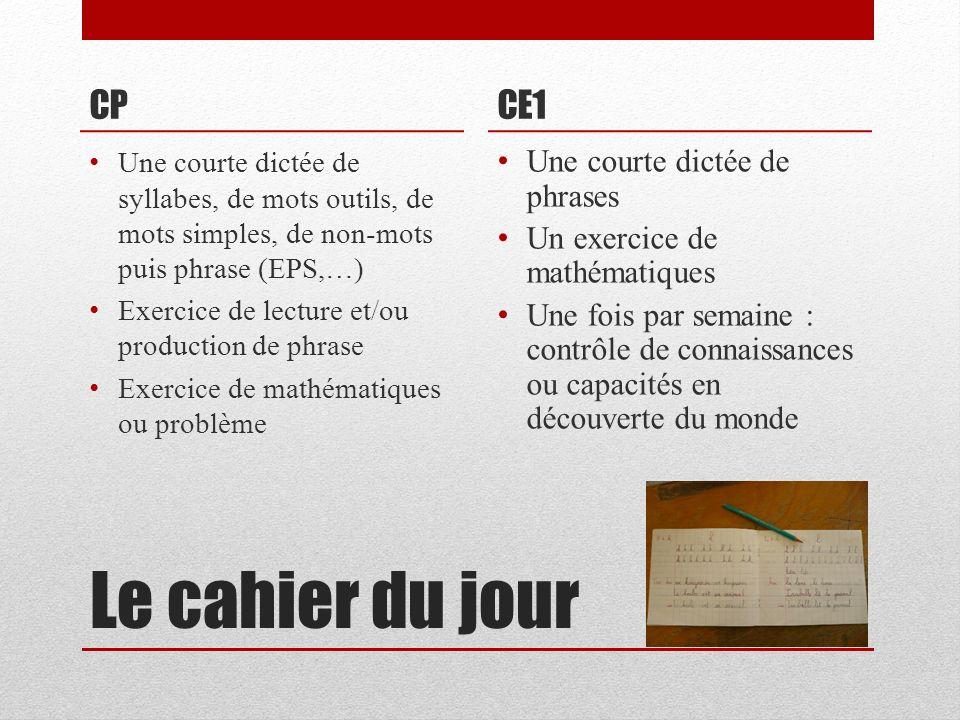 Le cahier du jour CP Une courte dictée de syllabes, de mots outils, de mots simples, de non-mots puis phrase (EPS,…) Exercice de lecture et/ou product