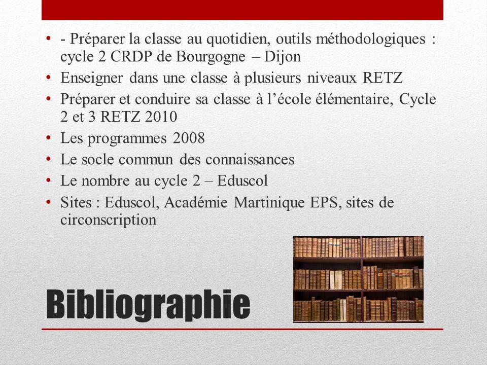 Bibliographie - Préparer la classe au quotidien, outils méthodologiques : cycle 2 CRDP de Bourgogne – Dijon Enseigner dans une classe à plusieurs nive