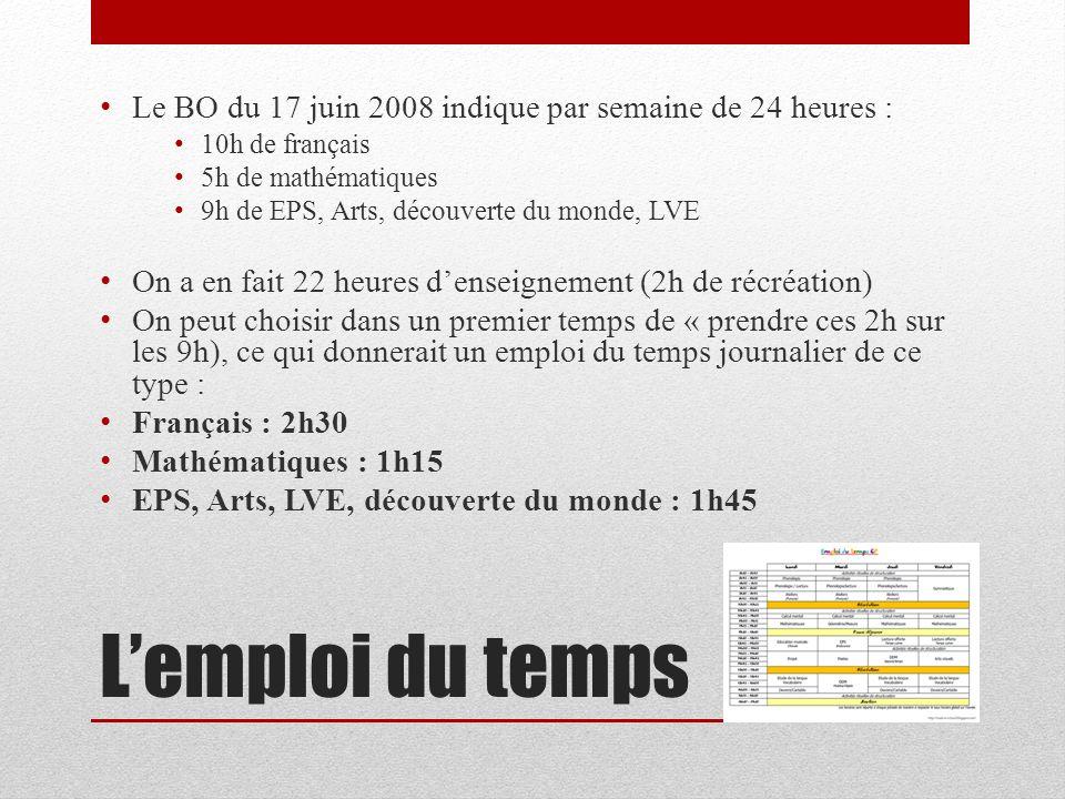 Lemploi du temps Le BO du 17 juin 2008 indique par semaine de 24 heures : 10h de français 5h de mathématiques 9h de EPS, Arts, découverte du monde, LV