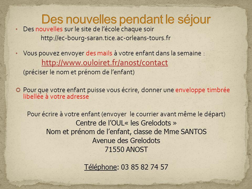 Des nouvelles sur le site de lécole chaque soir http://ec-bourg-saran.tice.ac-orleans-tours.fr Vous pouvez envoyer des mails à votre enfant dans la se