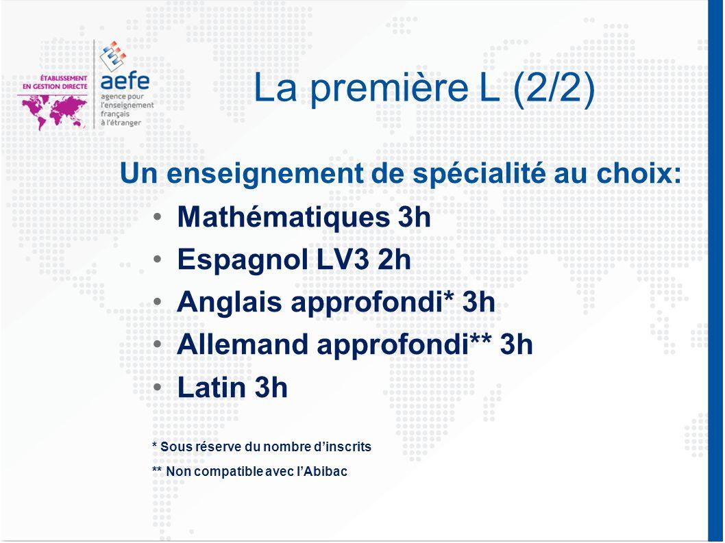 La première L (2/2) Un enseignement de spécialité au choix: Mathématiques 3h Espagnol LV3 2h Anglais approfondi* 3h Allemand approfondi** 3h Latin 3h * Sous réserve du nombre dinscrits ** Non compatible avec lAbibac