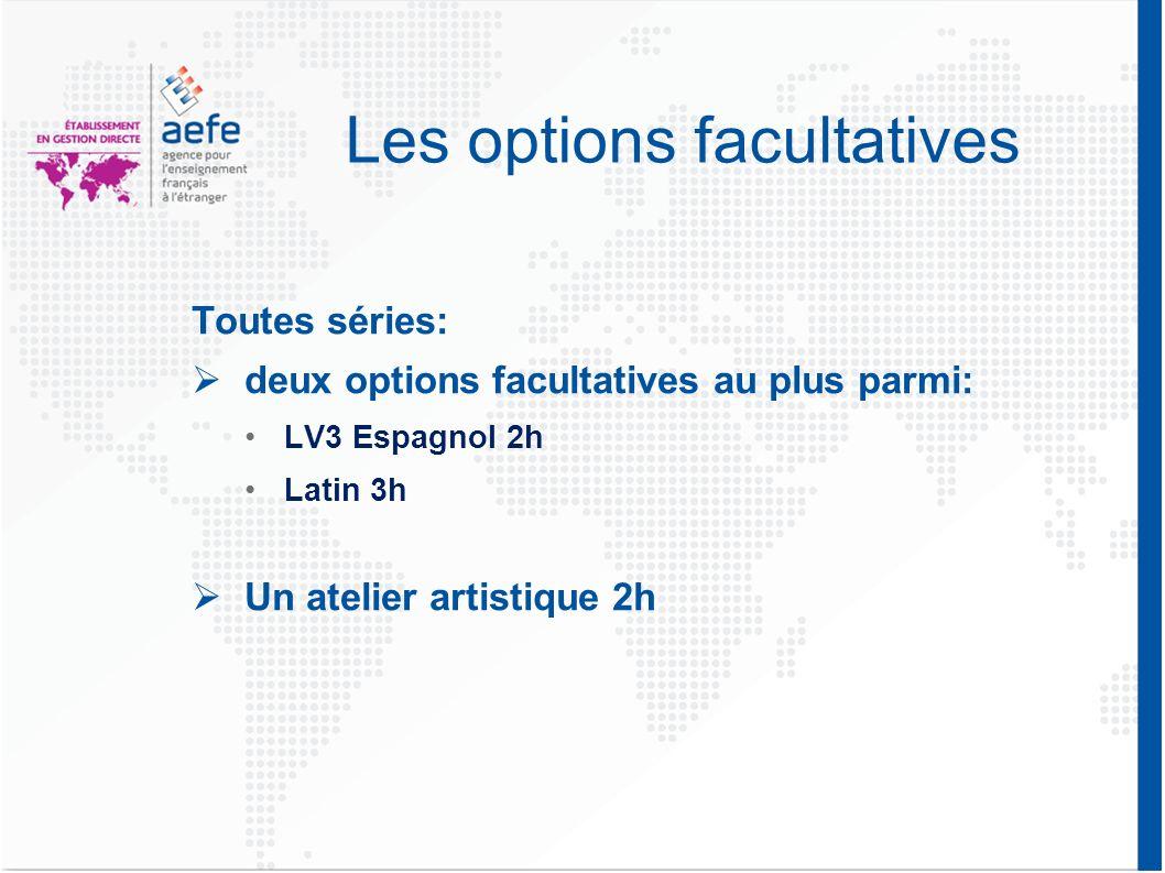 Les options facultatives Toutes séries: deux options facultatives au plus parmi: LV3 Espagnol 2h Latin 3h Un atelier artistique 2h